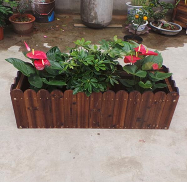 长方形花盆防腐木花箱/防腐木蔬菜种植箱/阳台种菜盆
